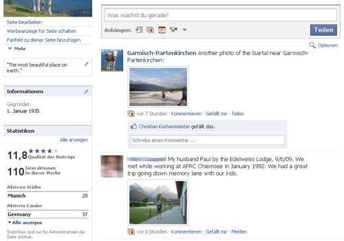 Aufbau der Facebook-Seite für Garmisch 2009